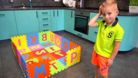 国外儿童时尚,DIY用泡沫垫搭房子,晚上睡觉就这个字母房子啦