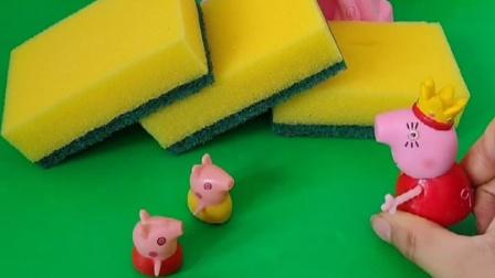 猪妈妈回来了,看到孩子们把清洁球当成了面包分开,又好气又好笑