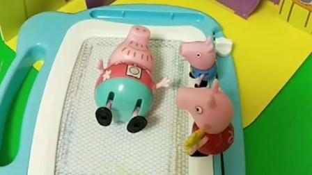 乔治佩奇去叫猪爸爸起床,怎么都喊不起来,把猪妈妈叫来想办法