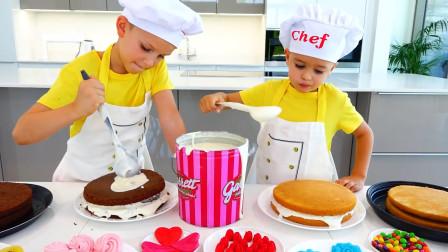萌娃小可爱们给妈妈做了一个漂亮的生日蛋糕,小家伙们可真是贴心呢!