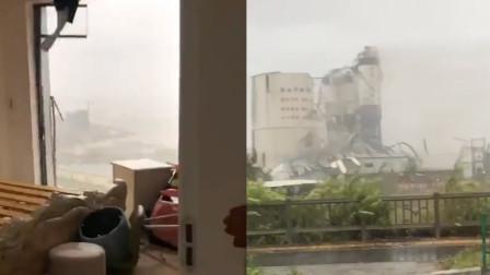 """直击台风""""米克拉""""登陆现场:居民家窗户被吹掉 厂房被吹倒"""
