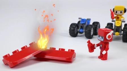 材料堆燃烧引发火灾,消防皮卡车紧急出动
