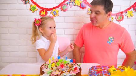 国外儿童时尚,小萝莉亲自做蛋糕,给爸爸过生日!