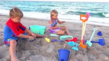 国外儿童时尚,小萝莉小正太和爸爸去沙滩,来看看吧