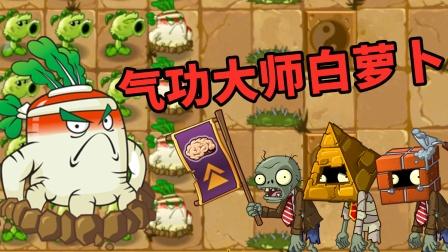 植物大战僵尸之疯狂花园 原始豌豆和白萝卜强强联手对抗僵尸群攻