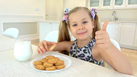 萌娃小可爱早上起来自己准备了牛奶泡饼干,真是乖巧懂事的好孩子呀!