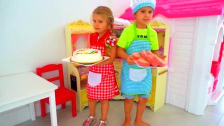 美国儿童时尚,小萝莉跟小正太在厨房做蛋糕,在家里玩游戏
