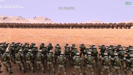 史诗战争模拟器:1000个霸王龙,挑战1000个现代大兵!