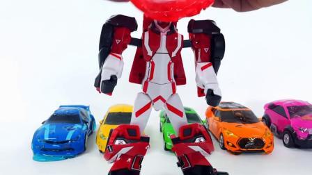 变形金刚汽车机器人6色布丁果冻彩泥汽车玩具