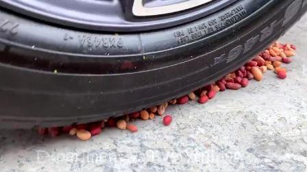 减压实验牛人把花生豆芒果酸奶放在车轮下,好减压,勿模仿