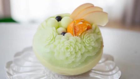 用哈密瓜雕刻成花,太漂亮了!