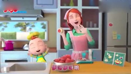 超级宝贝:终于可以和妈妈,一起做苹果布丁了,好开心呢