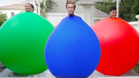 小伙作死挑战,钻进大型气球中并往里充气,下一秒画面失控