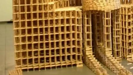 玩具视频,自制多米诺骨牌,童年积木玩具。