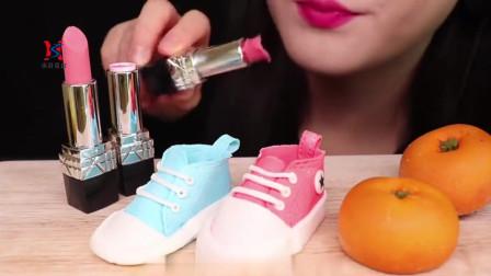 韩国美女吃播声控糖果小鞋子,巧克力唇膏橘子蛋糕,太可爱了吧