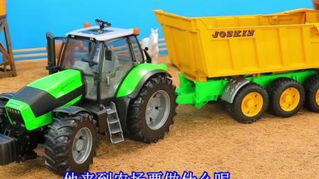 儿童玩具车表演:拖拉机运输石子,压路机压平道路