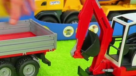 工程车玩具:翻斗车运输沙子,挖掘机清理挖掘!
