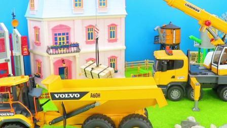 工程车玩具:吊车起吊货物装载翻斗车运输!