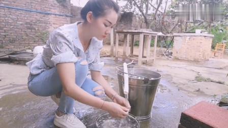 农村美女烹饪美食,今天做一道蒜蓉辣椒蒸河蚌,味道赛过海里的生蚝