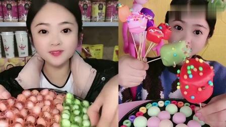 可爱小姐姐试吃:小姐姐吃脆皮棒棒糖,一口超过瘾,我向往的生活