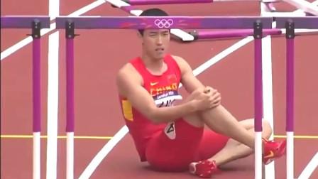 男子100米跨栏:刘翔悲情摔一倒,但是没有放弃比赛,最后单脚跳过终点线!