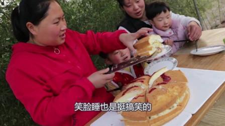 胖妹烹饪千层蛋糕,一家人吃得津津有味,真是馋人啊