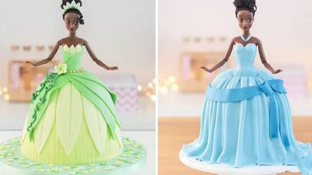 创意食玩,DIY迪斯尼公主蛋糕,翻糖裙子装饰漂亮吧!
