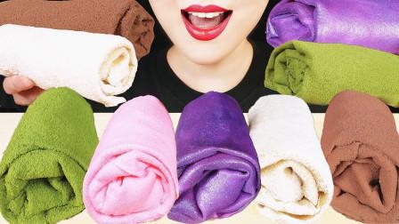 """韩国ASMR吃播:""""可食用的毛巾绉纱蛋糕"""",有各种口味的,吃货欧尼吃得真馋人"""