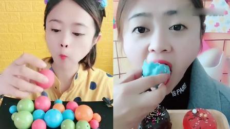 小姐姐吃播:泡芙,巧克力球,小时候的最爱