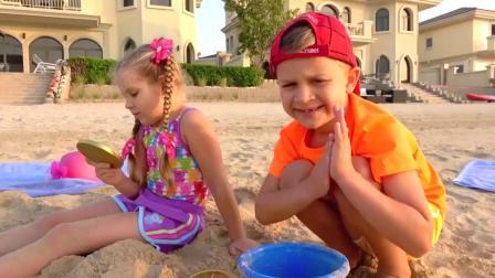 萌娃:小可爱在沙滩上意外挖出好多巧克力,爸爸不要抢