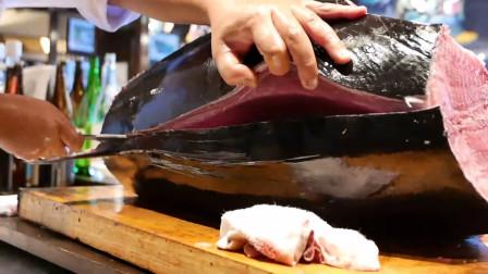 匠人精准的刀功食指大动,不要在半夜点开美食视频 金枪鱼秀