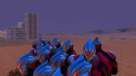 史诗战争模拟器:100个巨型欧布奥特曼VS5000千名蜥蜴人