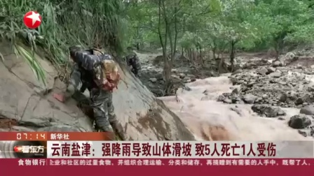 视频 云南盐津: 强降雨导致山体滑坡 致5人1人受伤