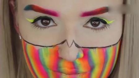 美妆教程:艺术彩虹妆容,妹子就是行走的彩虹啊