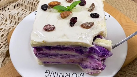 紫薯土司蛋糕,材料简单,只需几分钟轻松做出美食