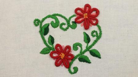手工刺绣教学,心形花环图案的刺绣方法!