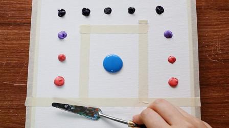 """抽象画教学:随便滴几滴颜料,就可以画出月夜下的""""天空之门"""""""