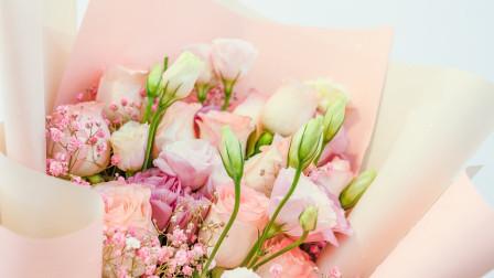 七夕鲜花花束包装教程,花艺视频培训课程,花店包花束视频教学