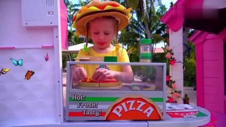 国外儿童时尚,萌宝在做美味的披萨,你们想尝尝吗?