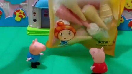 小猪佩奇买了零食,乔治以为是雪糕,不料佩奇买的是棉花糖