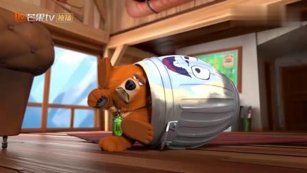 熊鼠一家:变大了的倒霉棕熊,被卡在水桶里了!