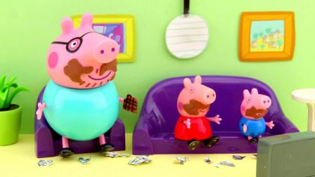 猪妈妈买了巧克力 因为猪爸爸和乔治都喜欢吃巧克力蛋糕