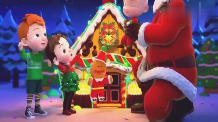 超级宝贝:圣诞老人变出圣诞花环,快挂到姜饼屋上,实在太完美了