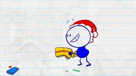 阿呆拿起礼物 他想要去送给谁呢?铅笔画小人游戏