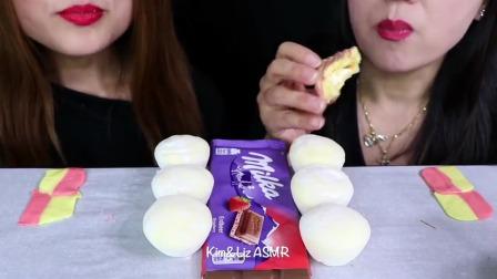 韩国小姐姐吃播:草莓巧克力+糯米团冰淇淋+芝士蛋糕+棉花糖,吃得真香