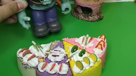 小僵尸今天生日,僵尸爸爸给买了大蛋糕,有小朋友来参加生日会吗?