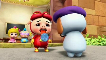 猪猪侠:猪猪侠侦探吃,冰块做的棒棒糖,直接把舌头黏在上面!