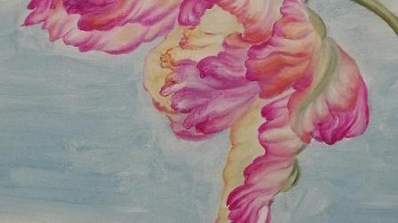 郁金香手绘,细心的打磨,才能出油画独特的味道