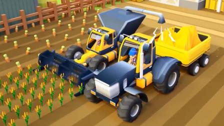 儿童工程车动漫 拖拉机和收割机一起收割小麦
