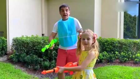 萌娃:小萝莉和爸爸的扔颜料大战